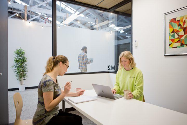 Two members working in meeting room