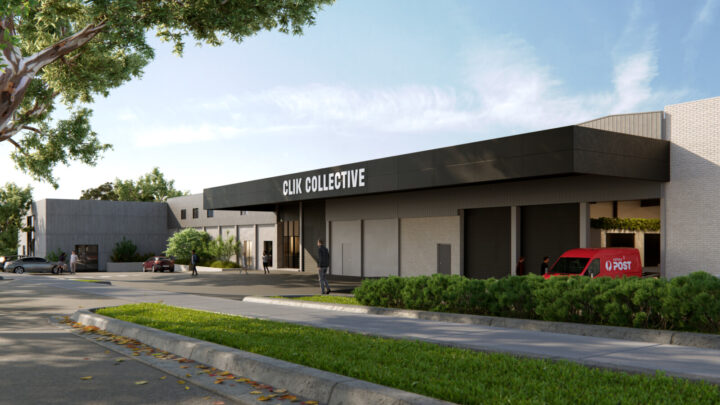 Exterior view of CLIK Collective Vermont. Black canopy with CLIK Collective written in white.